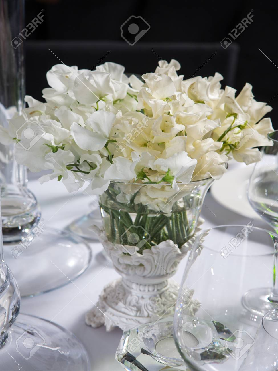 Decoration Of Wedding Table Bouquet Of White Flowers Of Sweet