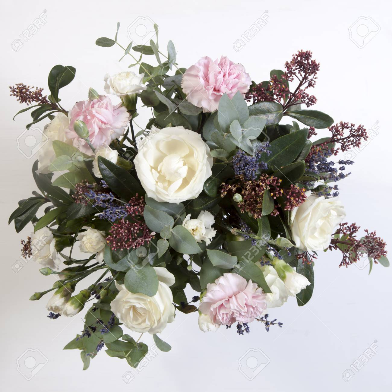 Wedding Bouquet Of A Bride From A Rose A Pink Carnation Eucalyptus