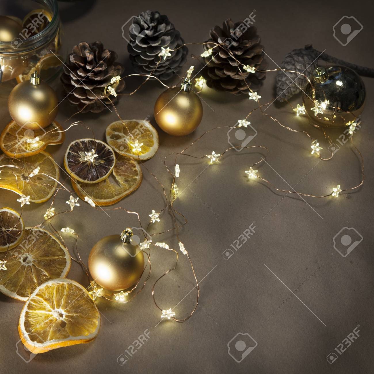 Garland With White Christmas Tree Lights With Rustic Wood Background