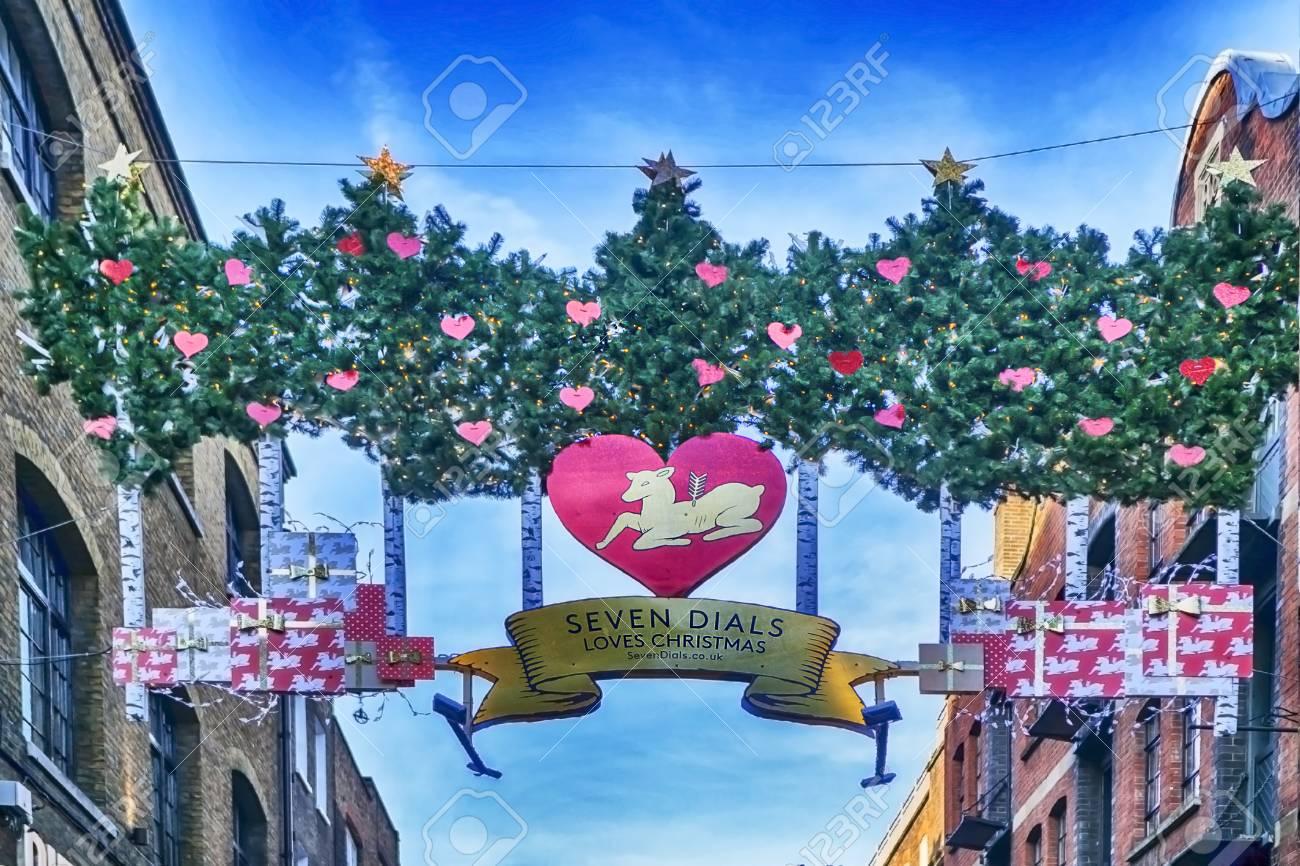 England Christmas Decorations.London England December 18 2017 Christmas Decoration At