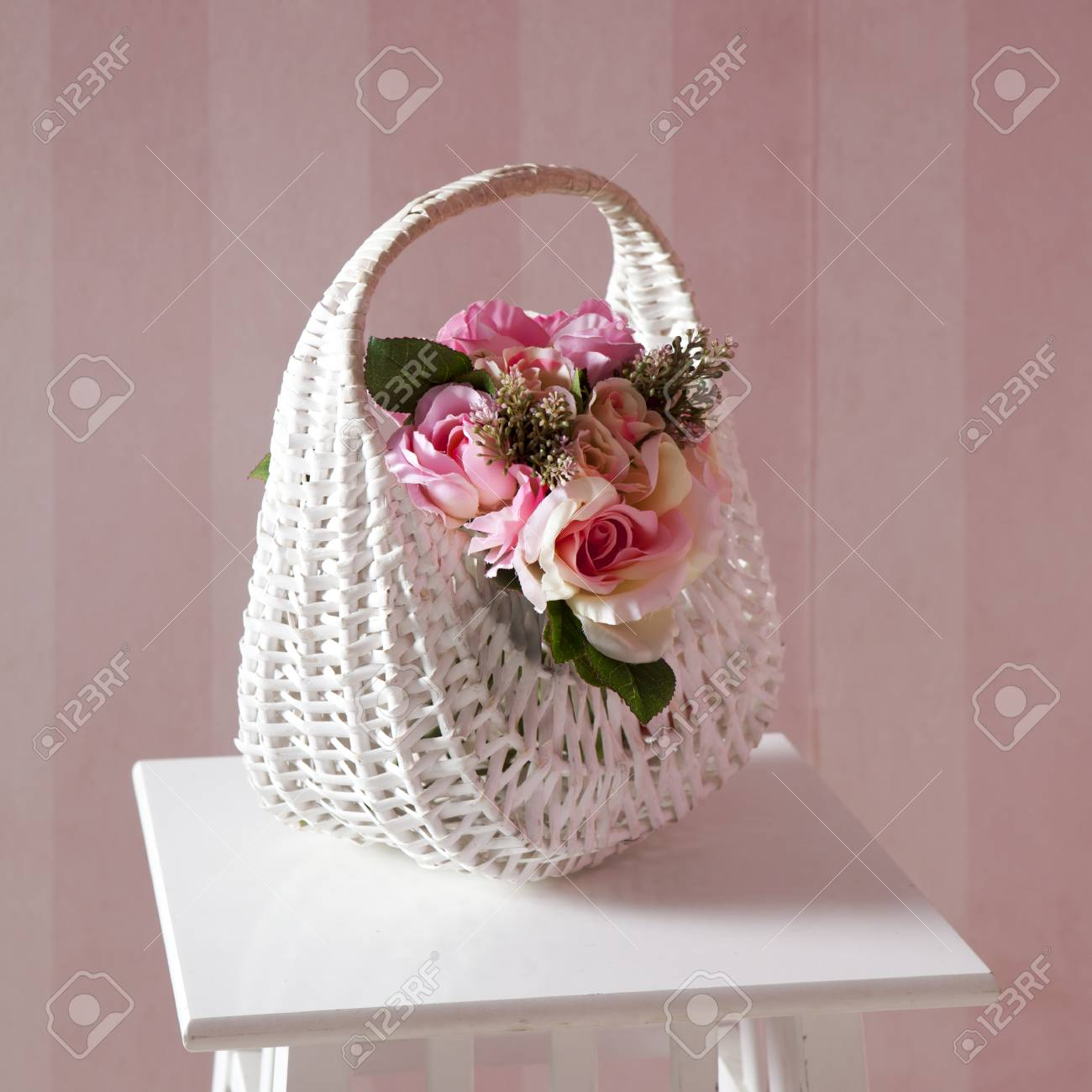 The handmade fake pink rose flower in the basket stock photo stock photo the handmade fake pink rose flower in the basket mightylinksfo