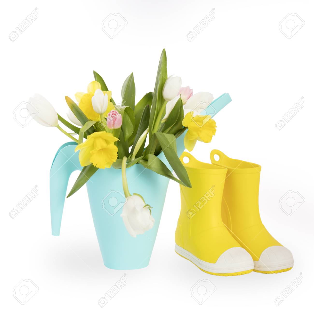Yellow rubber boots and blue watering can with a bouquet of flowers stock photo yellow rubber boots and blue watering can with a bouquet of flowers of yellow daffodils and white and pink tulips on the white background izmirmasajfo