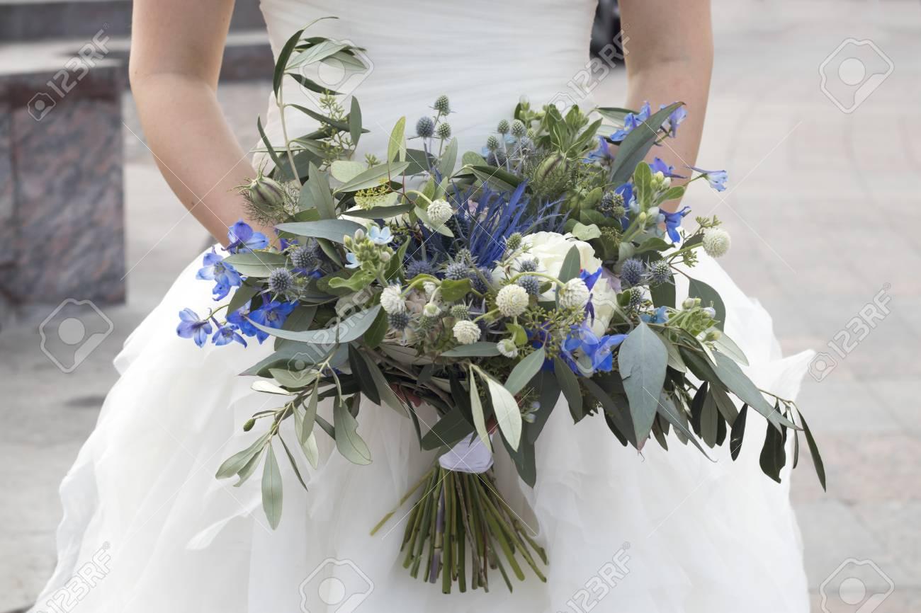 The Wedding Bouquet Of Dried Flowers, Eucalyptus, Peony, Dahlias ...