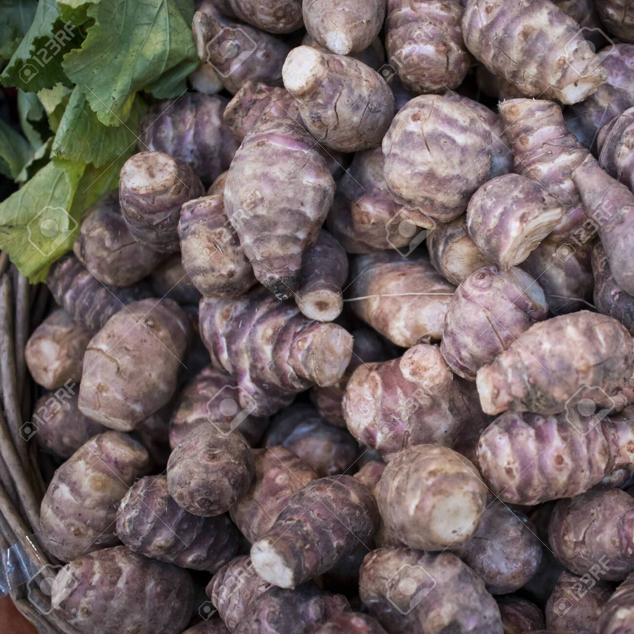 Fresh Pink Jerusalem Artichoke In The Box For Sale In The Market Stock Photo Picture And Royalty Free Image Image 139479318