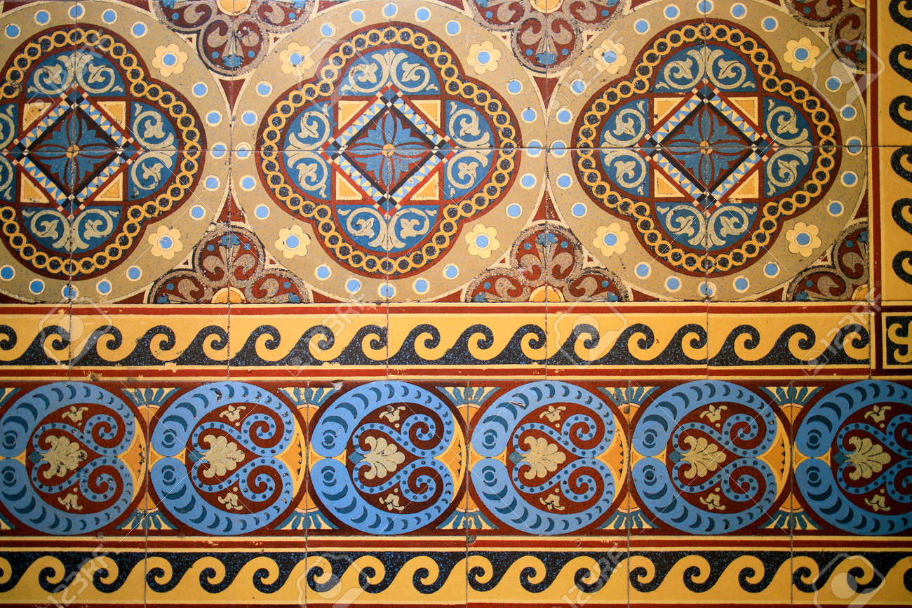 Samples of the famous Metlakh tiles, popular more than a hundred years ago. Pattern - 169650075