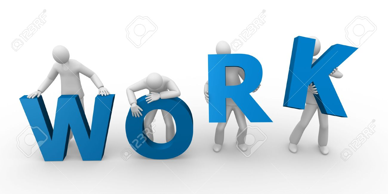 3d men holding the word work Stock Photo - 8165653