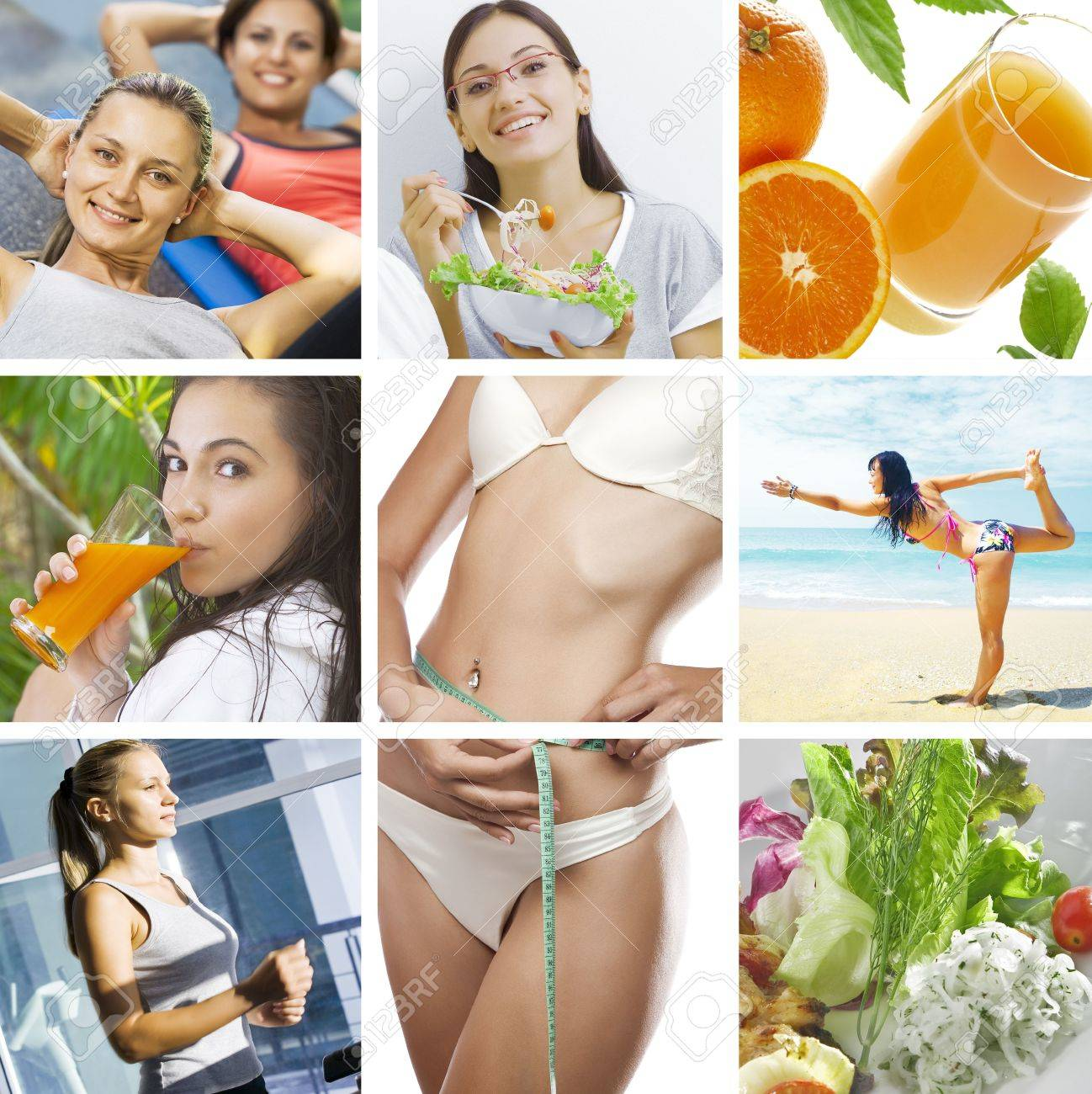 beautiful healthy lifestyle theme collage made from few photographs Stock Photo - 5819619