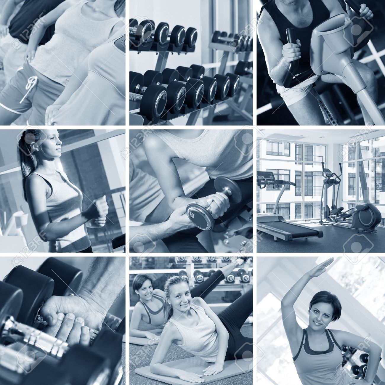 fitness theme black and white  photo collage composed of few images Stock Photo - 5828184