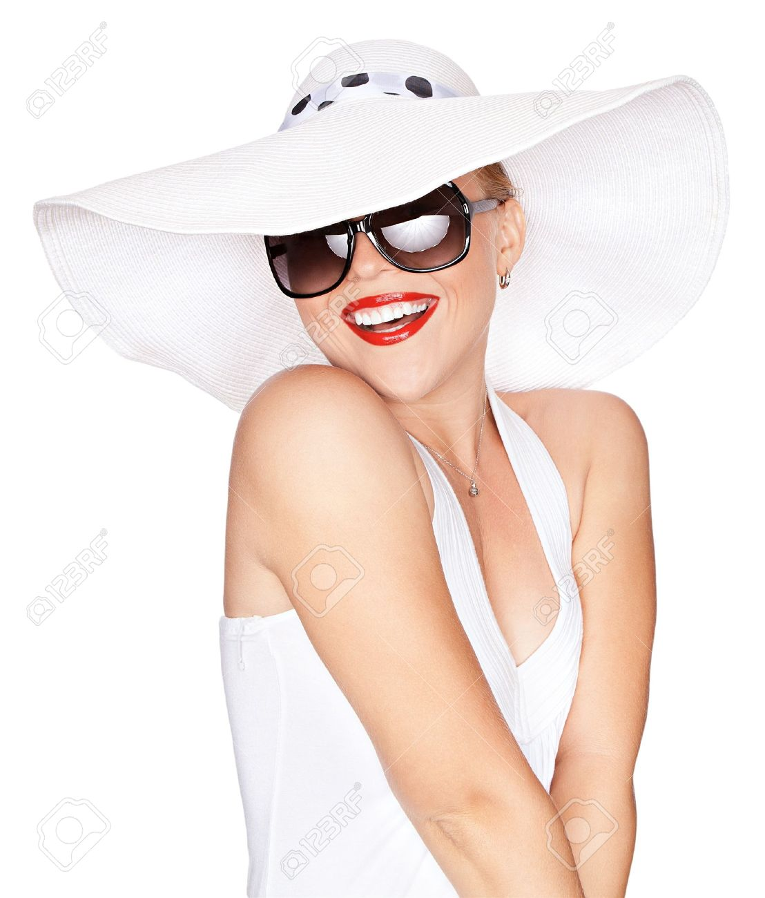 portrait of young beautiful woman in hat and sunglasses Stock Photo - 12409380