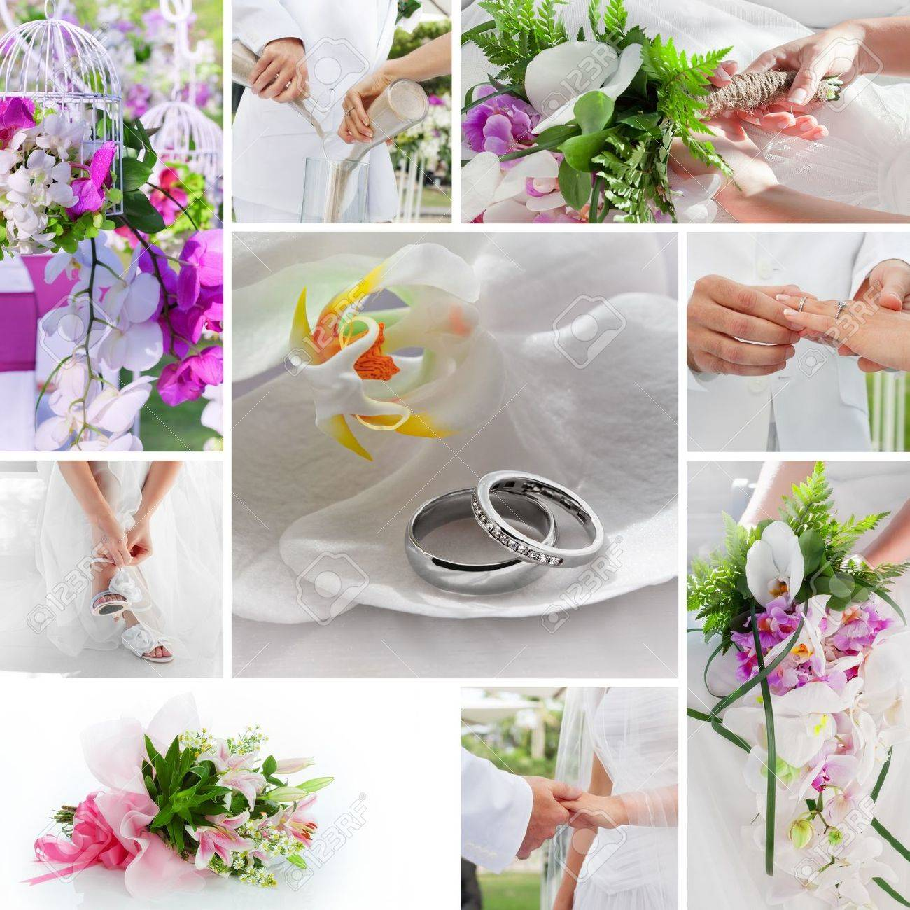 wedding theme collage composed of different images stock photo 13678964