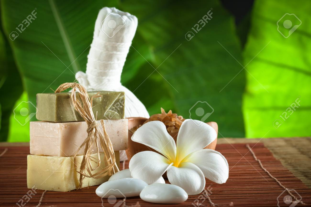 view of spa theme object on color background Stock Photo - 16245732