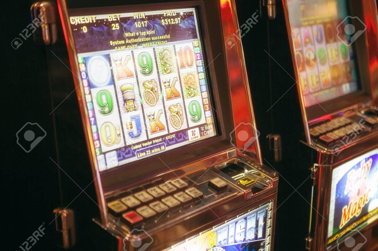 Color View Of Slot Machine In Las Vegas Casino Stock Photo