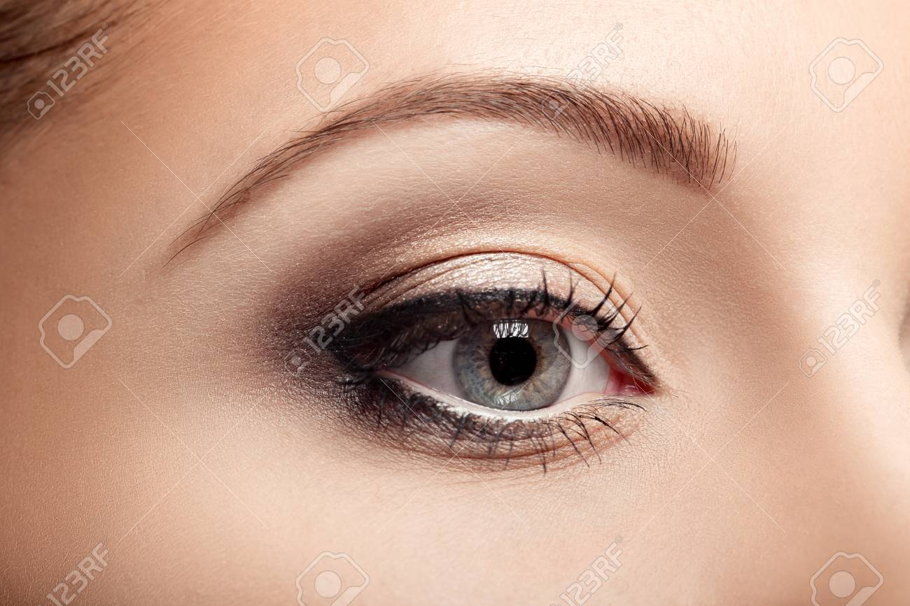 Closeup Of Beautiful Woman Eye With Brown Makeup Natural Makeup