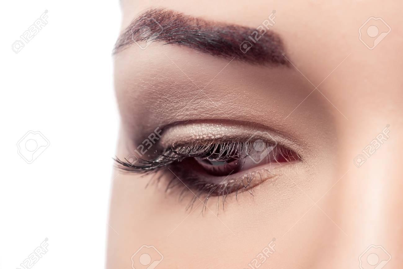 Closeup Of Beautiful Woman Eye With Brown Makeup Natural Makeup