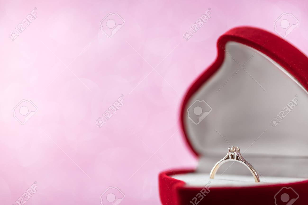 Wedding Diamond Ring In Red Heart Shaped Gift Box Stock Photo ...