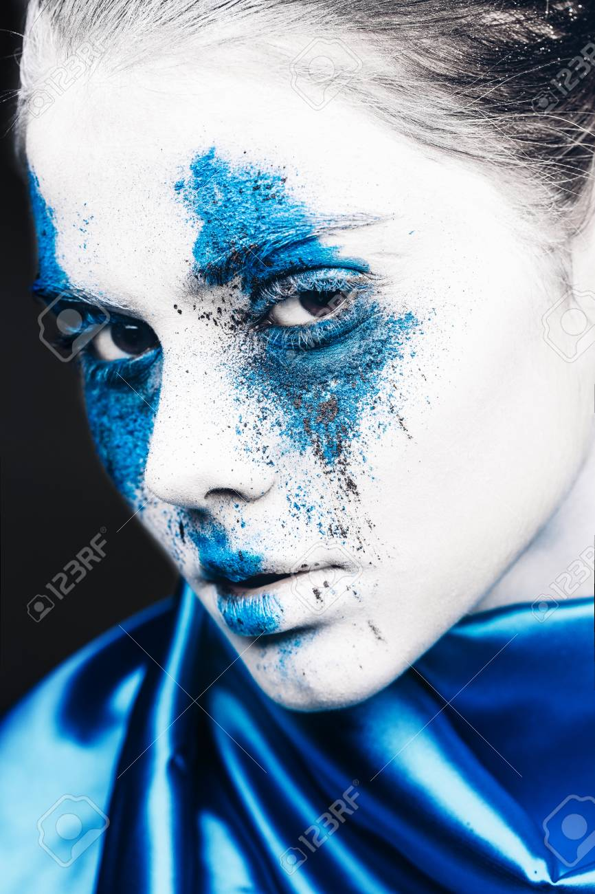 Fashion Model Girl Portrait With Colorful Powder Make Up Woman