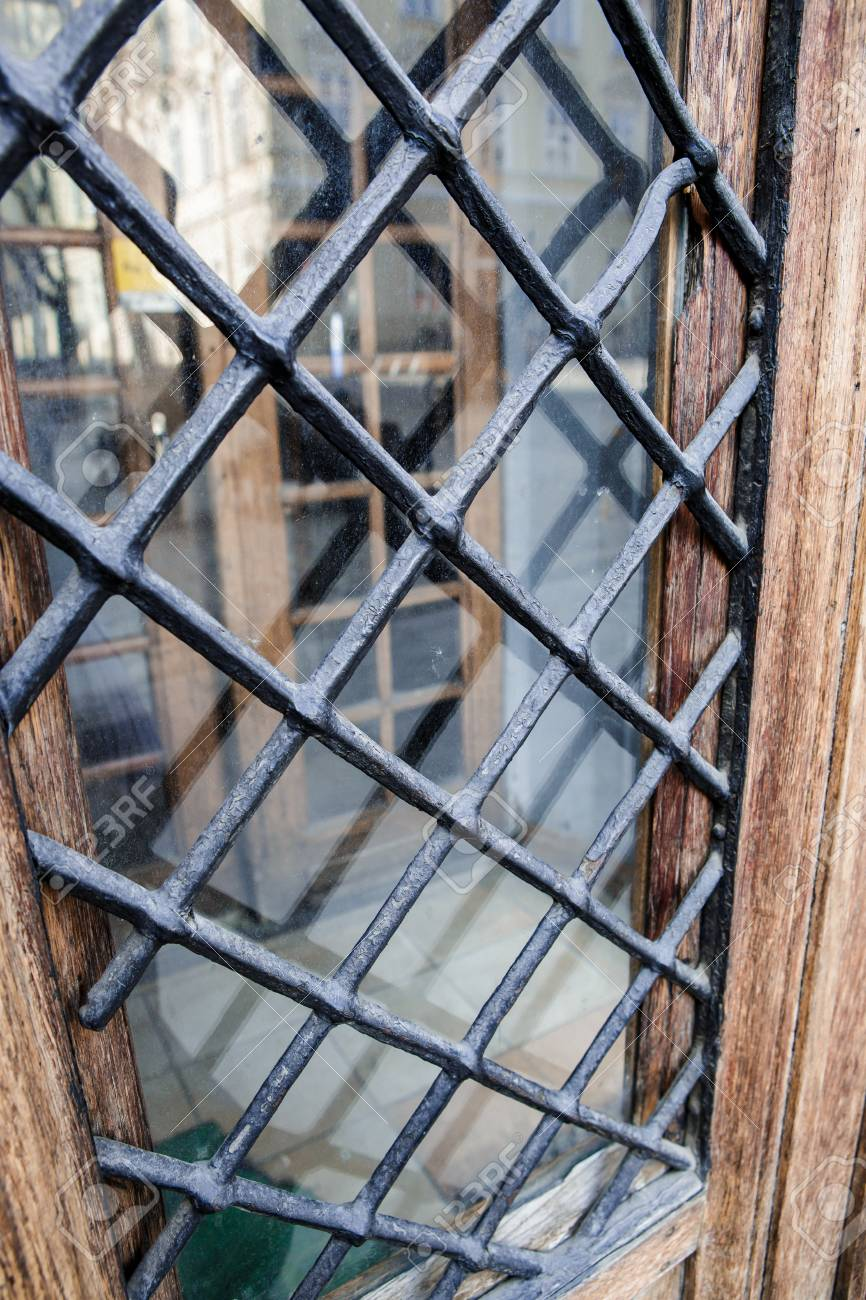 metal lattice window in the wall stock photo picture and royalty