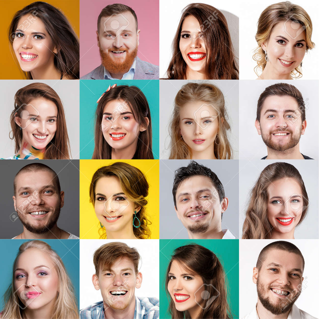 collage of happy faces of people. Happy men and women expressing different positive emotions. - 149502127