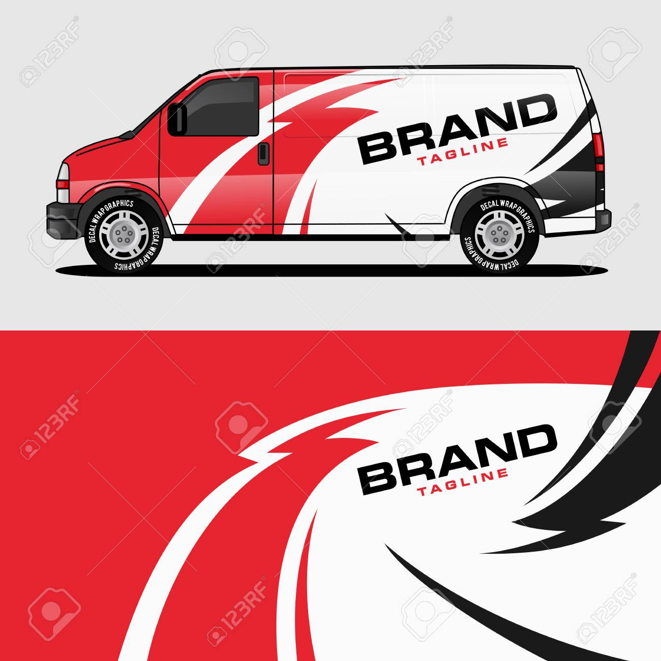 red van wrap design wrapping sticker and decal design for corporate company branding vector - 118843993