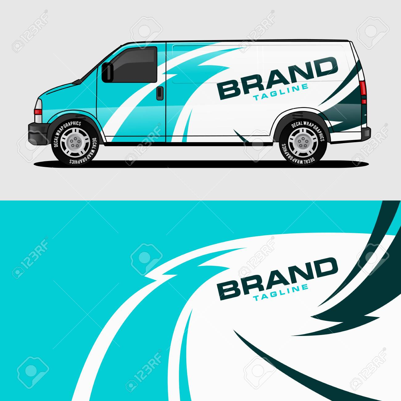 Car livery light blue van wrap design wrapping sticker and decal design for corporate company branding