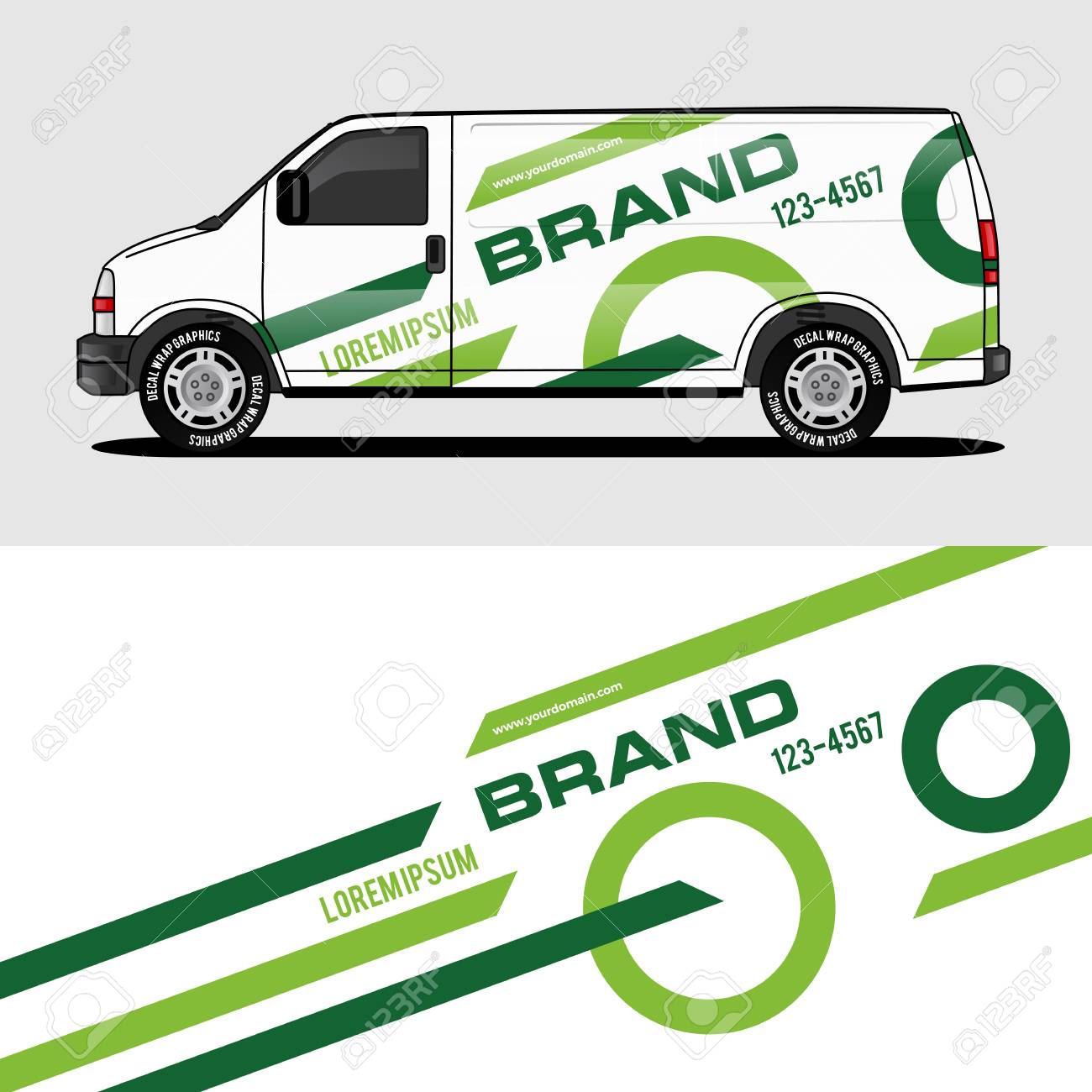 Car livery green van wrap design wrapping sticker and decal design for corporate company branding vector