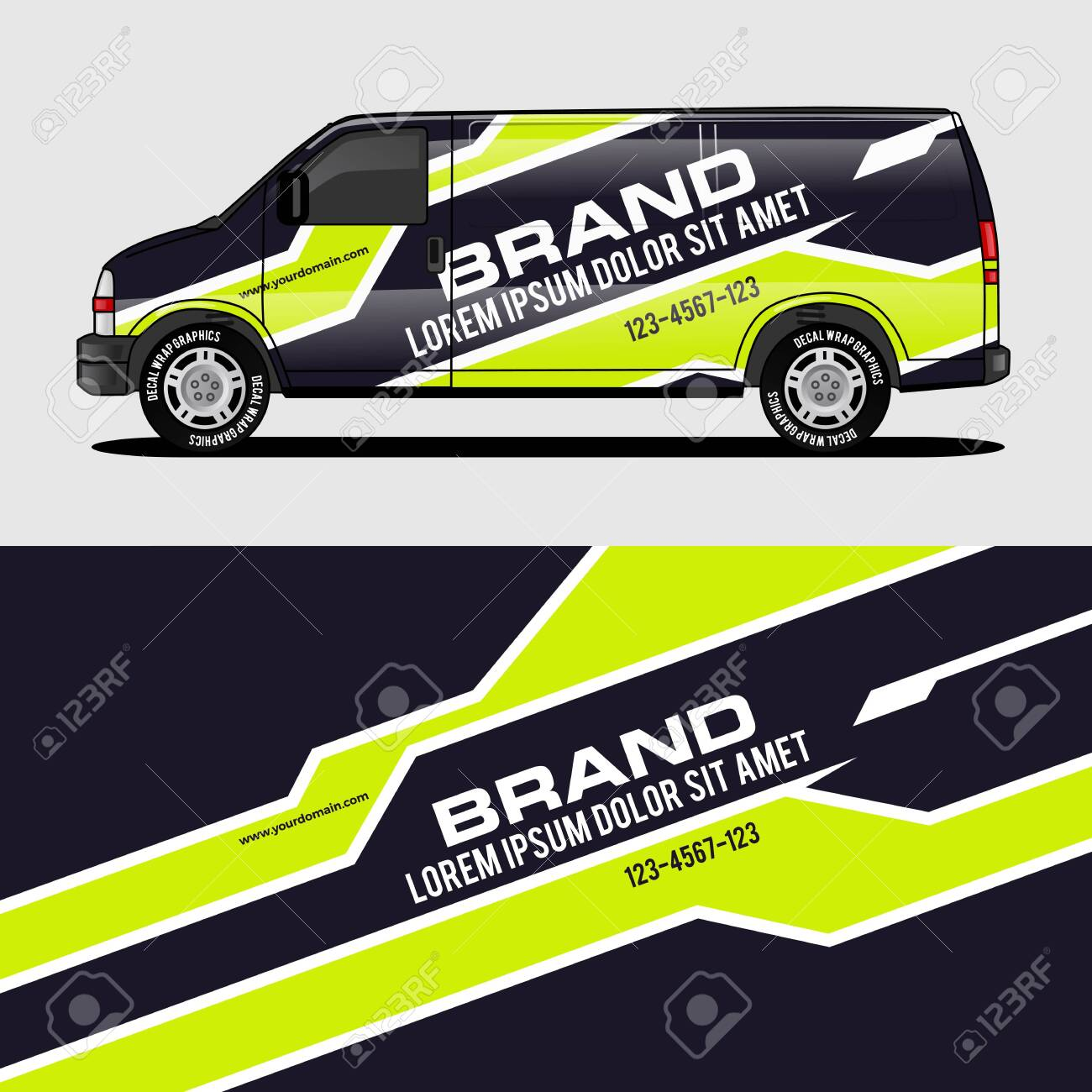 Car livery lime green van wrap design wrapping sticker and decal design for corporate company branding