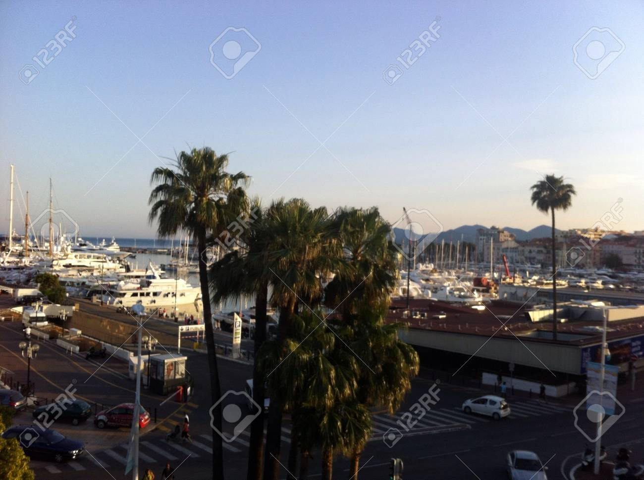 view on harbour Cannes France at sunset - 20401488