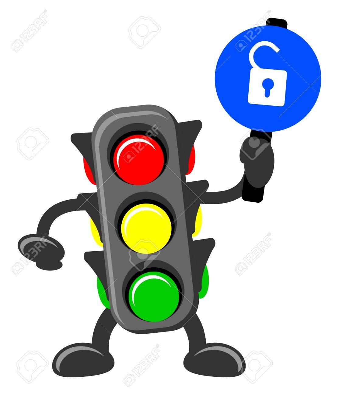 illustration of cartoon traffic light Stock Vector - 13196834