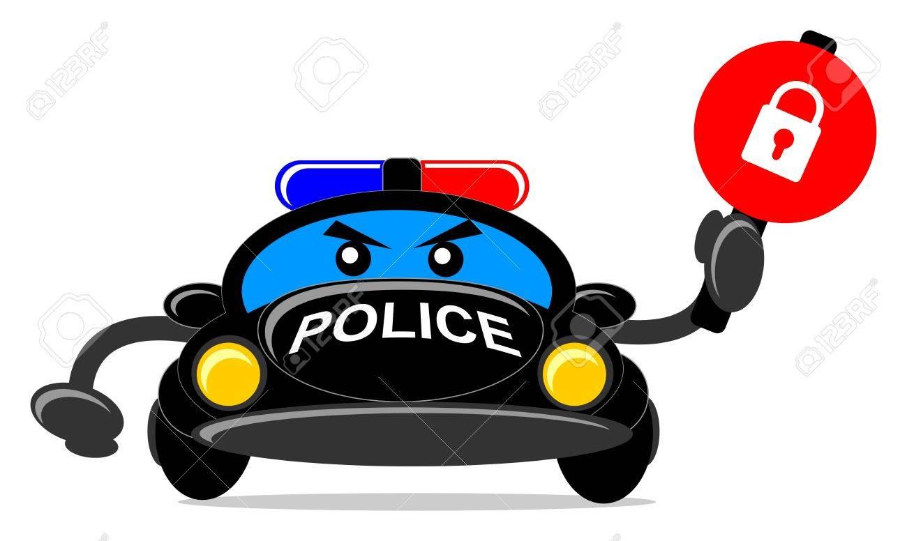 illustration of cartoon police car Stock Vector - 13196842