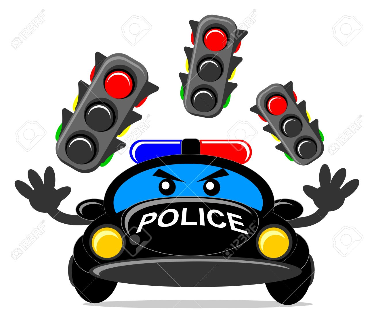 illustration of cartoon police car royalty free cliparts vectors