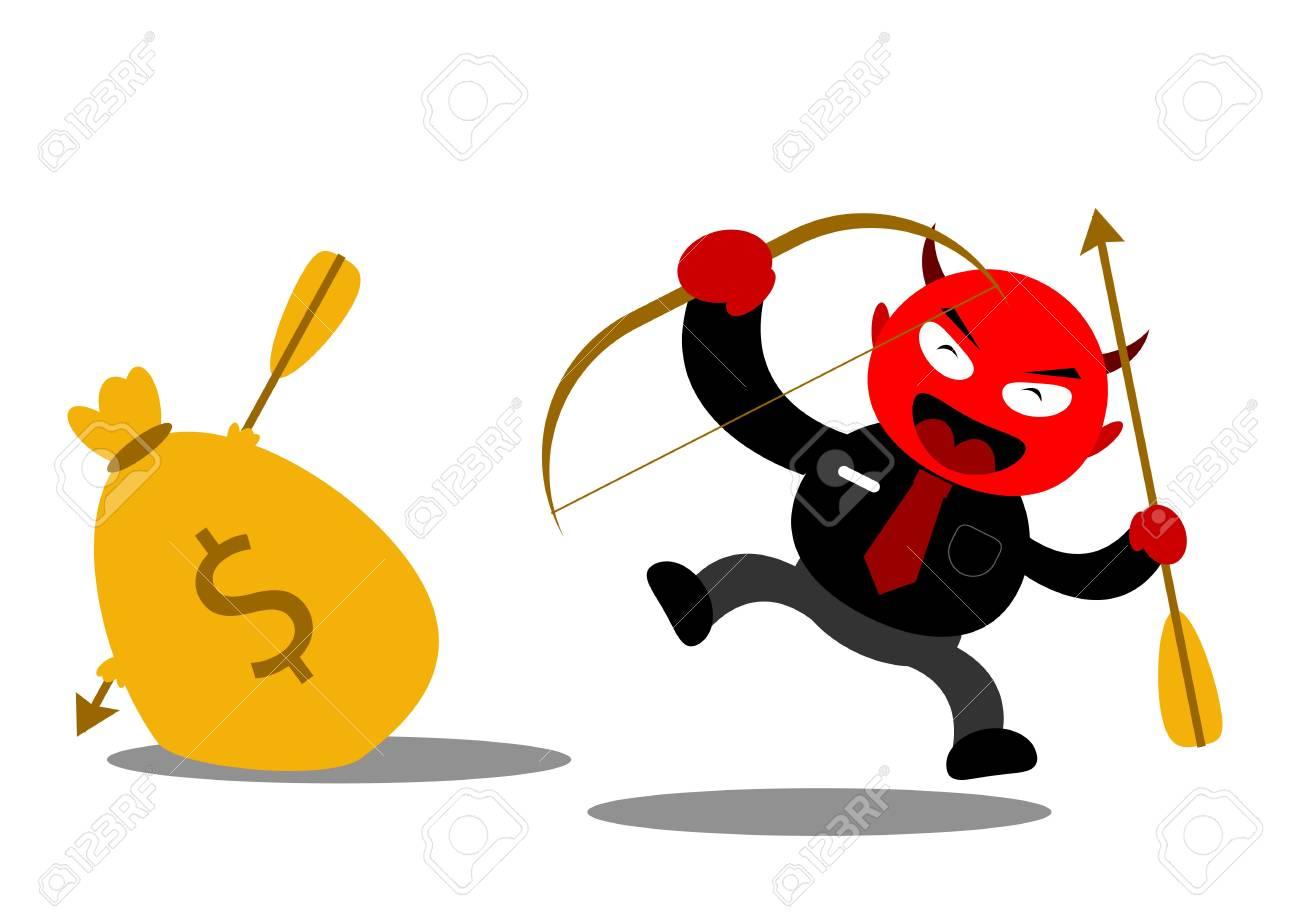 illustration vector graphic cartoon character of devil businessman Stock Vector - 21309024