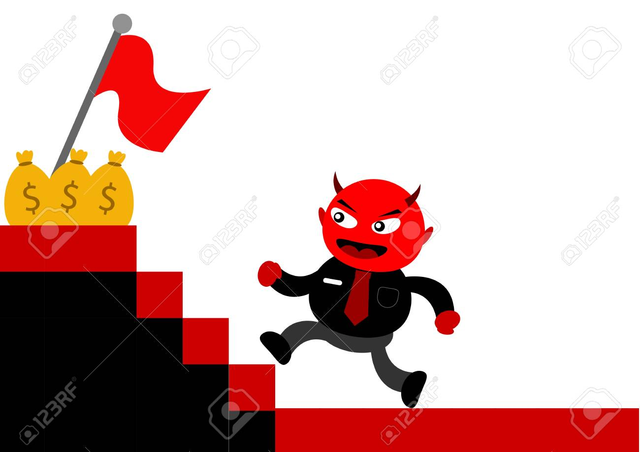 illustration vector graphic cartoon character of devil businessman Stock Vector - 21309029