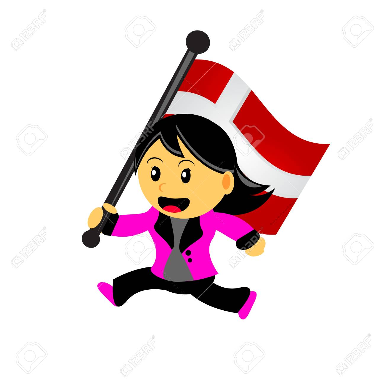 illustrasion vector graphic of cartoon woman / girl bring a country flag Stock Vector - 23238633