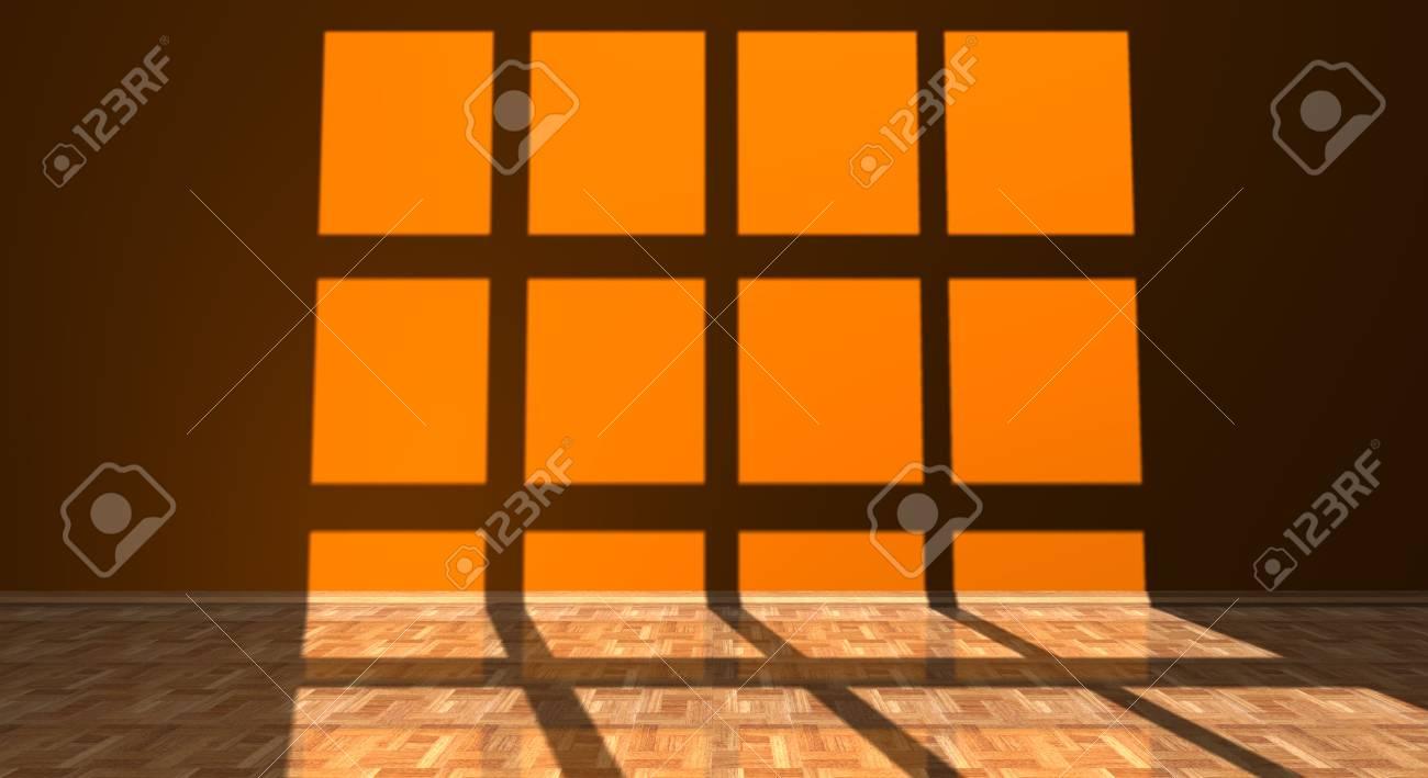 Pareti Colore Arancione : Immagini stock ombra di una finestra su una parete di colore