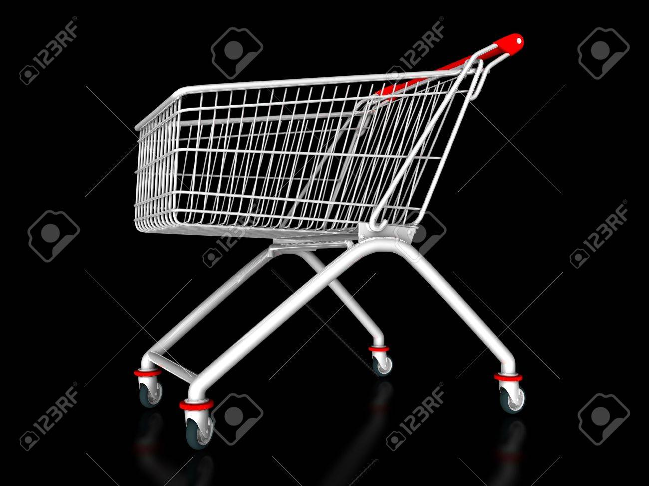 3D illustration of a shopping cart on a black background Stock Photo - 6726702