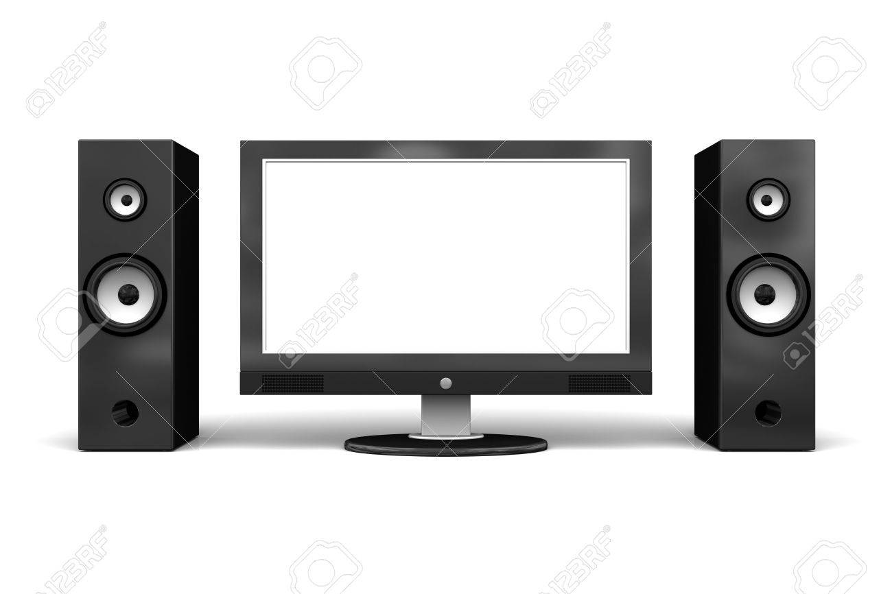 Wide Lcd Plasma Tv With Speakers On White Background Stock Photo Picture And Royalty Free Image Image 7176040