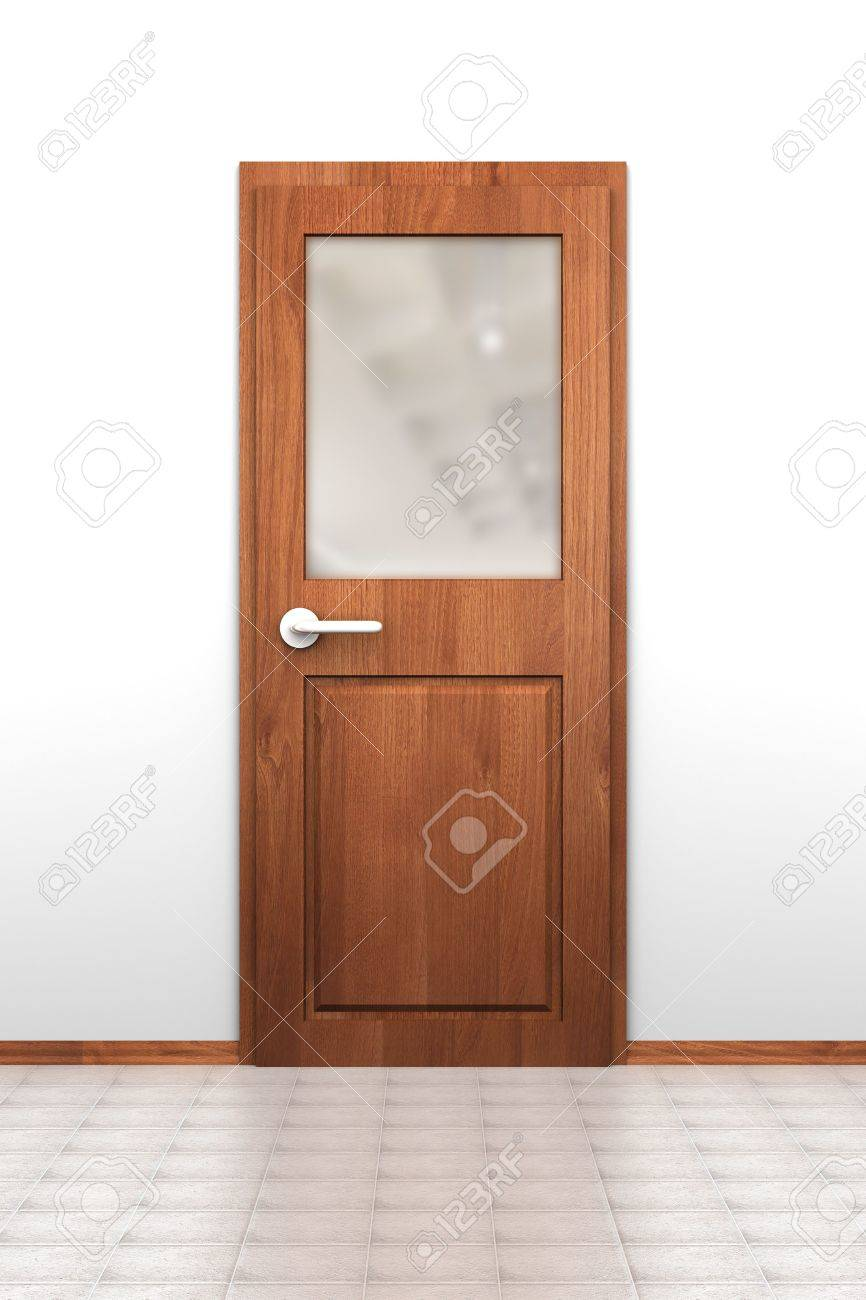 Stock Photo - Wooden door with opaque glass window tiled floor and white wall  sc 1 st  123RF.com & Wooden Door With Opaque Glass Window Tiled Floor And White Wall ...