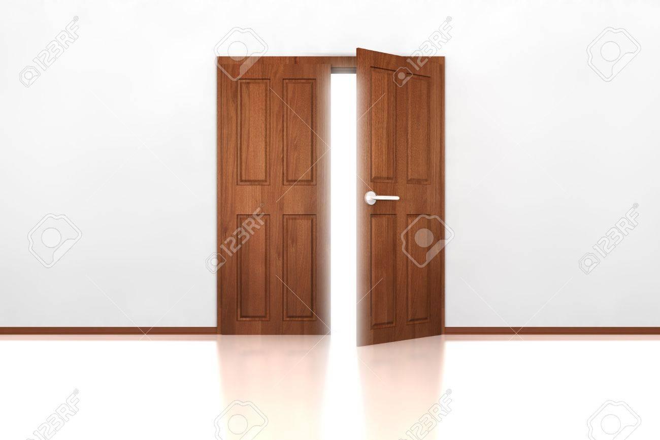 Double Wooden Door Half Open Tiled Floor And White Wall Stock Photo