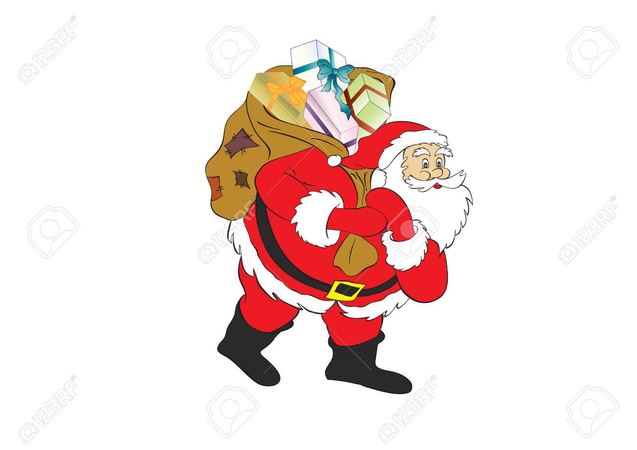 figure of Santa Claus with a bag of gifts. Stock Vector - 5866869
