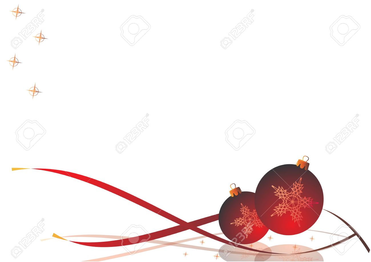 decorative christmas card christmas decorations with ribbons and stars on a white background stock photo