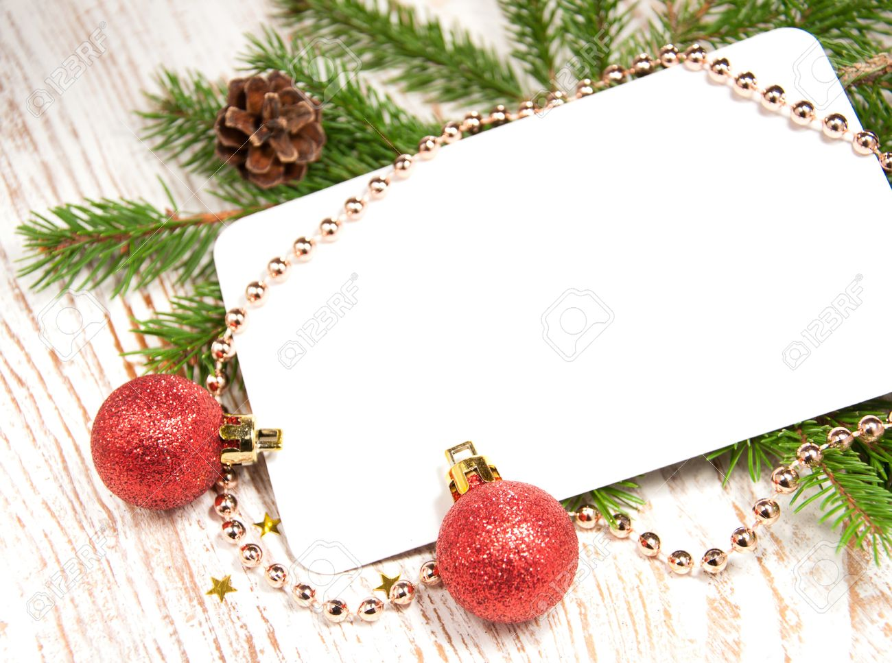 Blank Christmas Card Or Invitation With Decorations Stock Photo ...