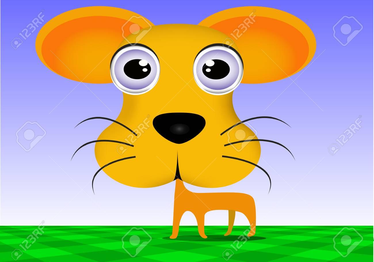 Vettoriale un grosso occhi cane cartone animato è in piedi image