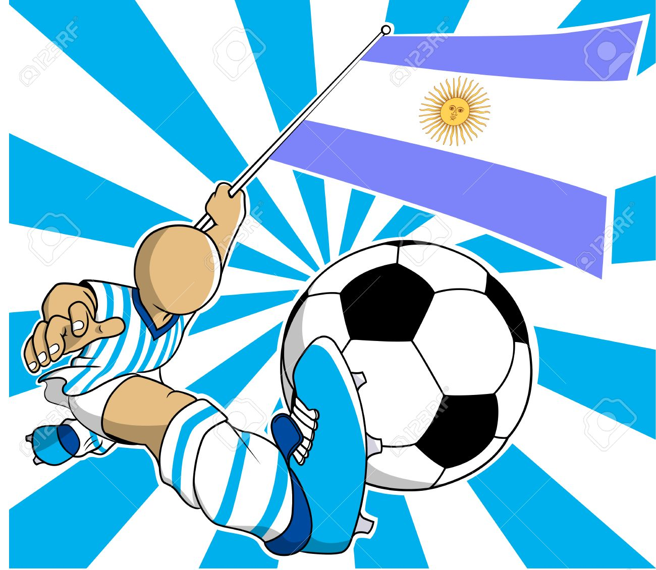 Argentina Soccer Player With Flag And Ball Cartoon Vector