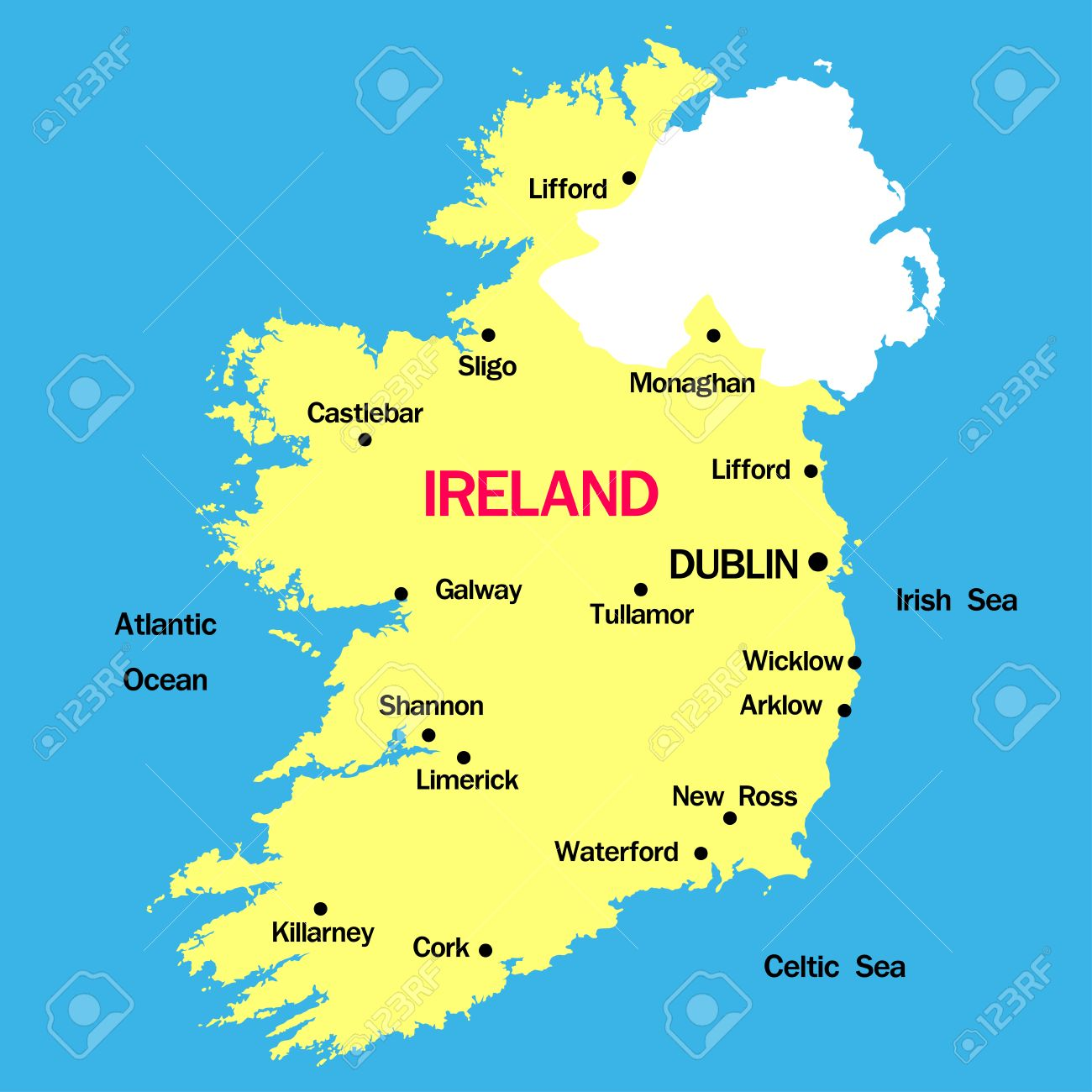 Ireland Map With Cities Vector Map Of Ireland With Cities Royalty Free Cliparts, Vectors