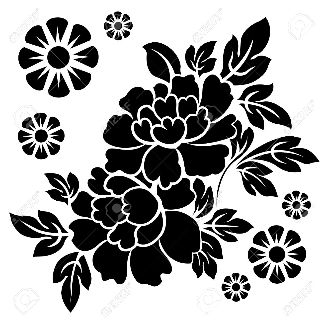 black silhouette of flowers vector illustration royalty free