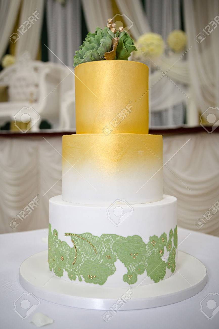 Green Gold Wedding Cake Stock Photo Picture And Royalty Free Image