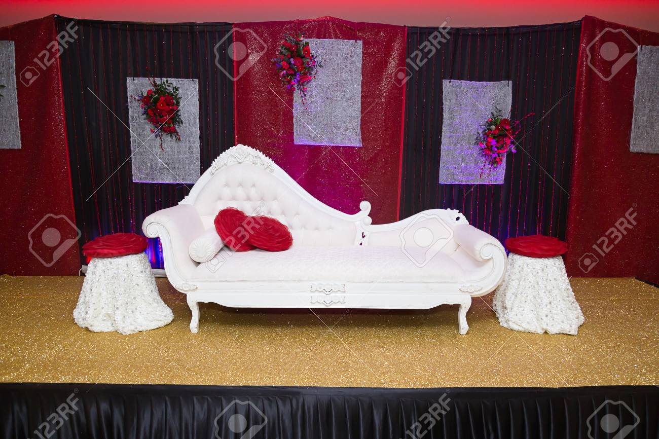 Red & Black Themed Indian Wedding Stage Stock Photo, Picture And ...