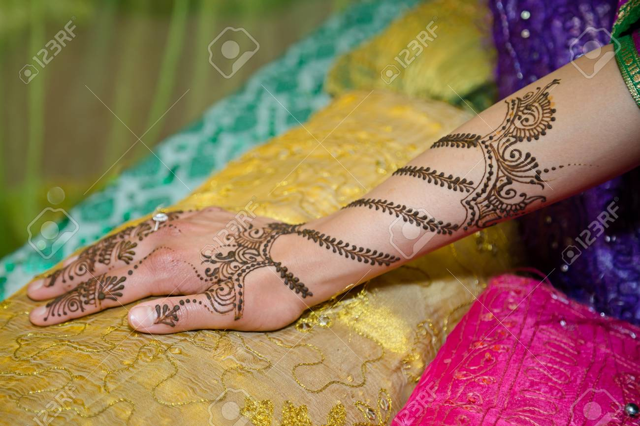Girls Hand With Henna Tattoo Stock Photo Picture And Royalty Free