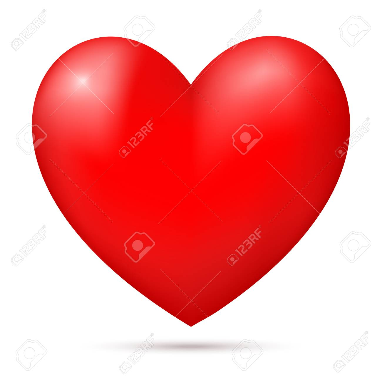 Red 3d heart isolated on white background. Banner, poster template, decoration element. Vector illustration. - 121546930