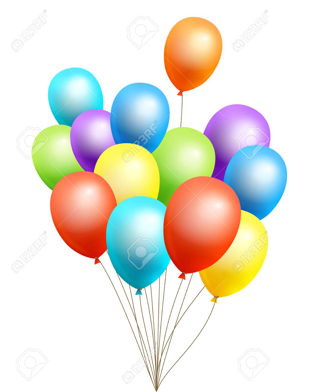 The bundle of flight up 3D rainbow color helium balloons on a white background. Realistic colorful design elements in red, orange, yellow, green, blue, purple. Vector Illustration. - 143677162